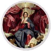Coronation Of The Virgin Round Beach Towel by Diego Velazquez