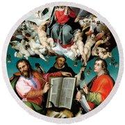 Coronation Of The Virgin With Saints Luke Dominic And John The Evangelist Round Beach Towel