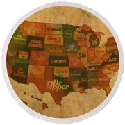 Corporate America Map Round Beach Towel