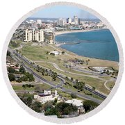 Corps Christi Skyline Round Beach Towel