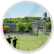 Corps Of Cadets Present Arms Round Beach Towel