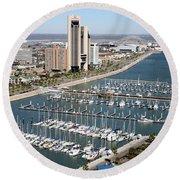 Corpus Christi Marina Aerial Round Beach Towel