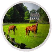 Corralled Horses - Featured In And Lets All Participate And Abc Groups Round Beach Towel