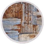 Corrugated Iron Background Round Beach Towel
