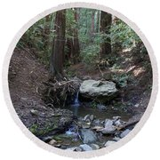 Corte Madera Creek On Mt. Tam In 2008 Round Beach Towel