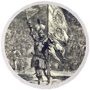 Cortez Claiming Mexico For Spain, 1519 Round Beach Towel