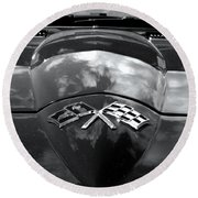 Corvette In Black And White Round Beach Towel