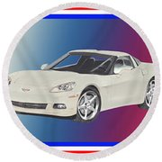 Corvettes In Red White And True Blue Round Beach Towel