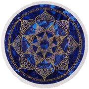 Cosmic Blue Lotus Round Beach Towel