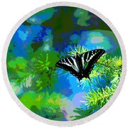 Cosmic Butterfly In The Pines Round Beach Towel