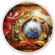 Cosmic Clock Round Beach Towel by Ciro Marchetti