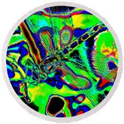 Cosmic Dragonfly Art 2 Round Beach Towel
