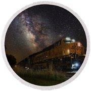 Cosmic Railroad Round Beach Towel