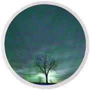 Cosmic Sky Winter Tree Round Beach Towel