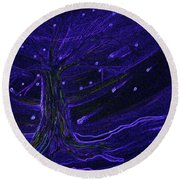 Cosmic Tree Blue Round Beach Towel