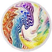 Cosmic Waves Vertical Round Beach Towel