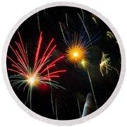 Cosmos Fireworks Round Beach Towel