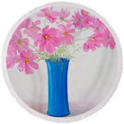 Cosmos Flowers Round Beach Towel