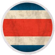Costa Rica Flag Vintage Distressed Finish Round Beach Towel