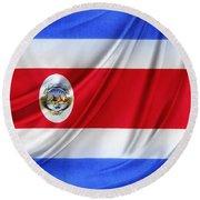 Costa Rican Flag Round Beach Towel