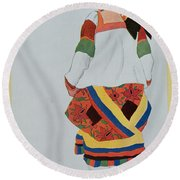 Costume Design For A Peasant Girl, 1922 Round Beach Towel