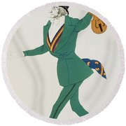 Costume Design For Paganini In The Enchanted Night Round Beach Towel