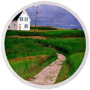 Cottage Among The Dunes Round Beach Towel by Edward Fielding