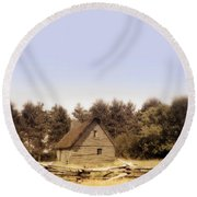 Cottage And Splitrail Fence Round Beach Towel