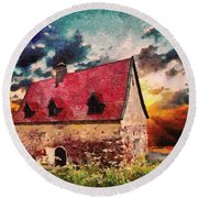 Cottage By The Sea - Abstract Realism Round Beach Towel