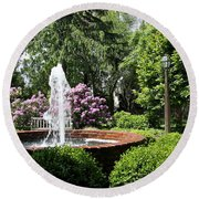 Cottage Garden Fountain Round Beach Towel