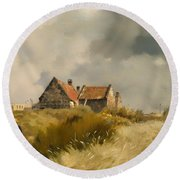 Cottage In The Dunes Round Beach Towel