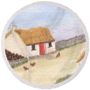 Cottage In The West Round Beach Towel