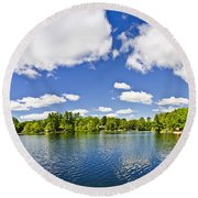 Cottage Lake With Diving Platform And Dock Round Beach Towel by Elena Elisseeva
