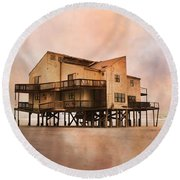 Cottage Of The Past Round Beach Towel by Betsy Knapp