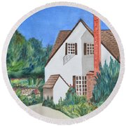 Cottage On A Hill Round Beach Towel