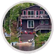 Cottage On The Water Round Beach Towel
