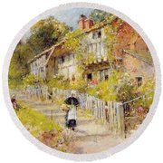 Cottages   A Row Of Cottages Round Beach Towel