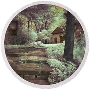 Cottages In The Woods Round Beach Towel by Jill Battaglia