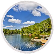 Cottages On Lake With Docks Round Beach Towel by Elena Elisseeva