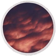 Cotton Candy Clouds Round Beach Towel