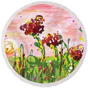 Cotton Candy Flowers Round Beach Towel