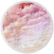 Cotton Candy Sky Round Beach Towel
