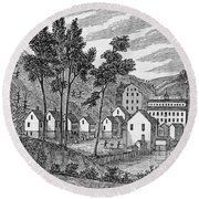 Cotton Factory Village, Glastenbury, From Connecticut Historical Collections, By John Warner Round Beach Towel
