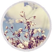 Cotton In The Sky With Filter Round Beach Towel