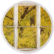 Cottonwood Fall Foliage Colors Rustic Farm Window View Round Beach Towel