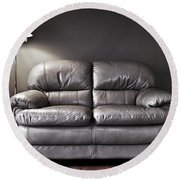 Couch And Lamp Round Beach Towel