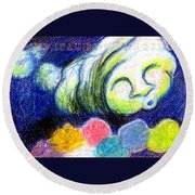 Cloud Flowers Round Beach Towel