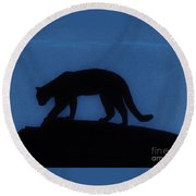 Cougar - At - Night Round Beach Towel