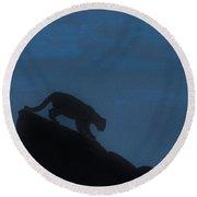 Cougar - Down - The - Mountain Round Beach Towel