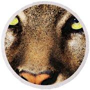 Cougar Eyes Round Beach Towel